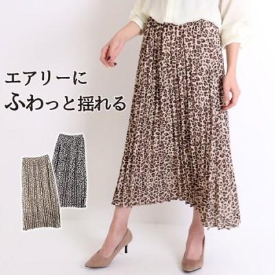 ロングスカート プリーツ レオパード マキシ丈 シフォン 黒 ウエストゴム(SALE20%OFF)