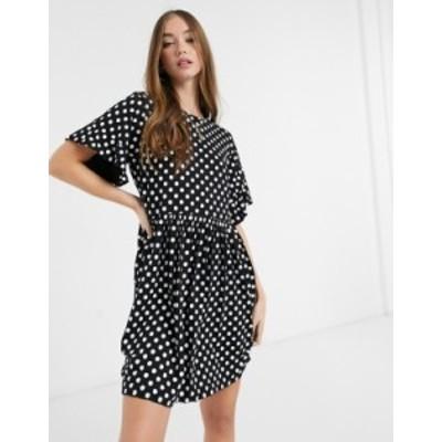 ニュールック レディース ワンピース トップス New Look mini tea dress in black polka dot Black pattern
