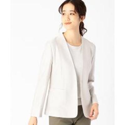 COMME CA ISM(コムサイズム)ノーカラー ジャージージャケット <日本素材 ウォッシャブル 吸水速乾 ストレッチ>