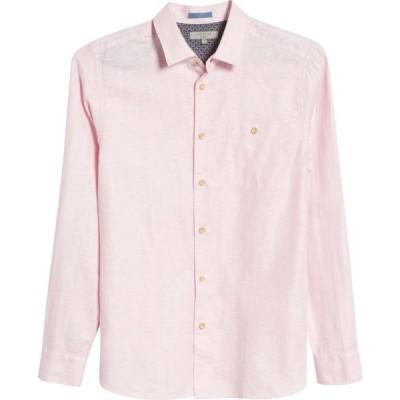 テッドベーカー TED BAKER LONDON メンズ シャツ スリム トップス Sauss Slim Fit Solid Linen & Cotton Button-Up Shirt Light Pink