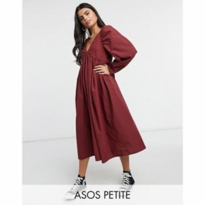エイソス ASOS Petite レディース ワンピース ベビードール ミドル丈 ワンピース・ドレス Petite Cotton Babydoll Midi Dress In Oxblood