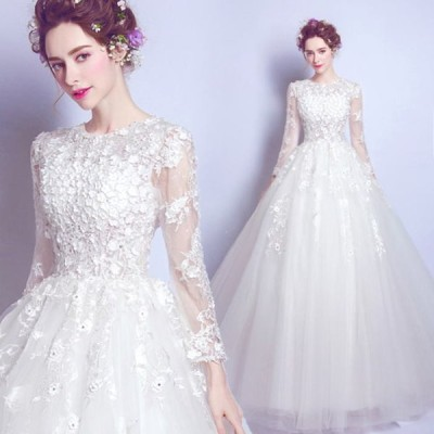 【ANGEL】肌透けチュールレースパールフラワー長袖付き背中編上げプリンセスAラインロングドレス【送料無料】高品質 ホワイト 白 ウエディングドレス