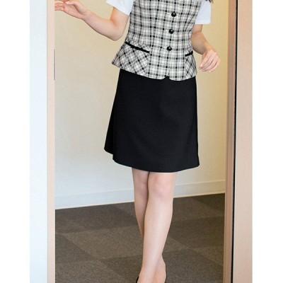 事務服 セミフレアースカート 56153(ブラック)5号~19号 春夏用 サンプルOK enjoie