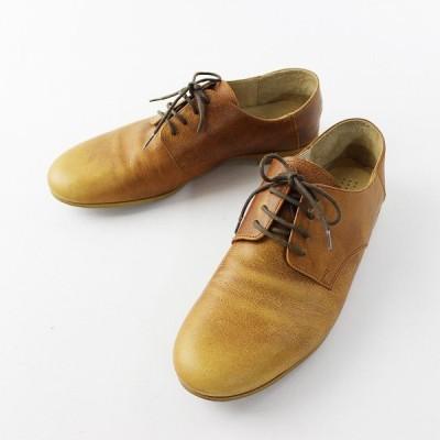 【セール10%OFF!】que shoes キュー シューズ レザーレースアップシューズ L/キャメル 24-24.5cm 2400011661067