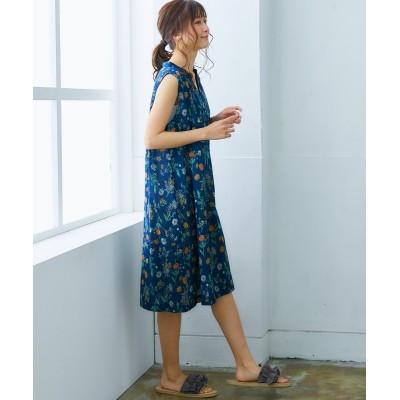 【ゆったりワンサイズ】大人の花柄ノースリーブスキッパーワンピース (ワンピース)Dress