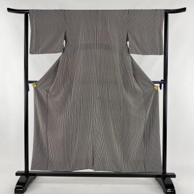 小紋 美品 秀品 縦縞 黒 袷 身丈154cm 裄丈63cm S 正絹 【中古】