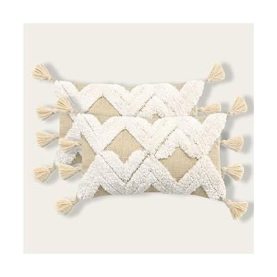 Sungea 装飾用クッションカバー 2個パック 12 x 20インチ ボーホーインテリア ナチュラルスタイル 三角形タフテッドスロークッションケース