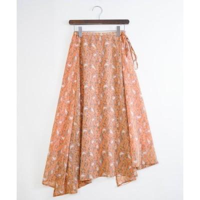 スカート 【wordtrobe】フラワーシフォンラップスカート