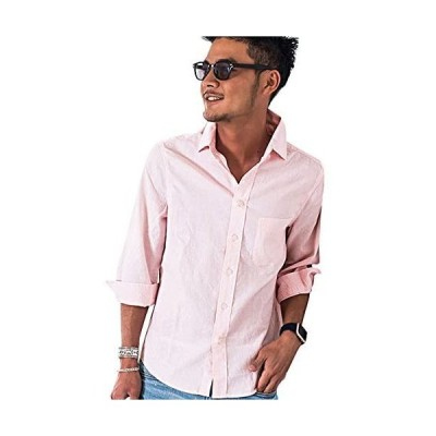 (ビッチ)VICCI メンズ リネン シャツ 7分袖 無地 薄手 綿麻 レギュラーカラー コットン シンプル (32(L.PIN) 46)