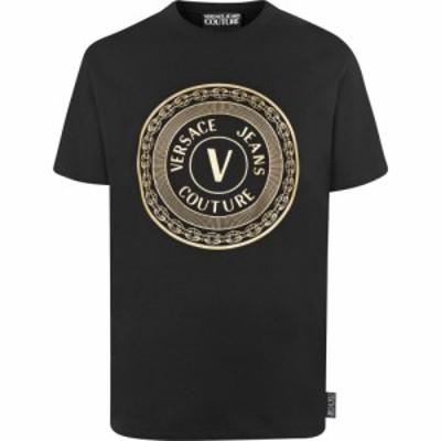 ヴェルサーチ VERSACE JEANS COUTURE メンズ Tシャツ トップス Large Stamp T Shirt Blk/Gld