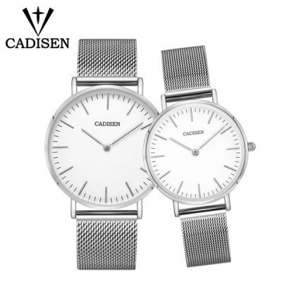 CADISEN ペアウォッチ ラバーズ  カップル スチールメッシュベルト防水 ギフト 超薄型 White