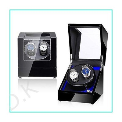 NEWTRY Automatic Watch Winder Double Watches Winder Boxes with Light Quiet Motor for Watches Display for Men and Women Gift AC Adapter and B