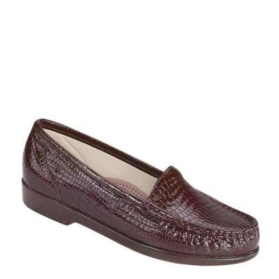 エスエーエス レディース サンダル シューズ Simplify Croco Print Leather Moccasin Loafers Brown Croco