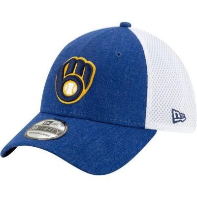 ニューエラ メンズ 帽子 アクセサリー New Era Men's Milwaukee Brewers Blue 39Thirty Heather Neo Stretch Fit Hat