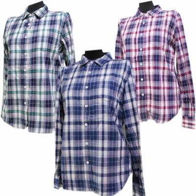 綿100%素材の格子柄長袖シャツブラウス(青・紺赤・紺緑の3柄あり)サイスM寸