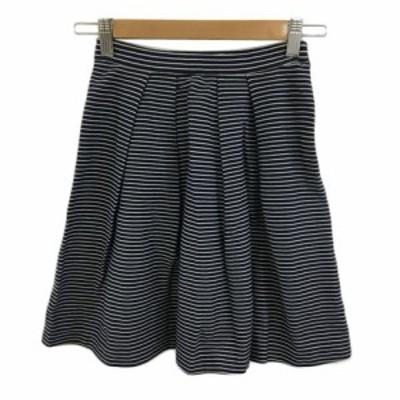 【中古】プラージュ スカート フレア ミニ ボーダー タック ウエストゴム 34 白 黒 ホワイト ブラック レディース