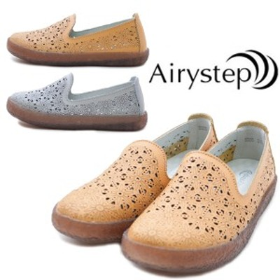 【Airy step】エアリーステップ KA3328 レディース スリッポン 痛くない フォーマル ビジネス 本革 女性 婦人靴 普段履き イエロー グレ