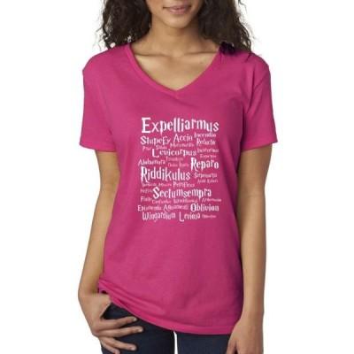 レディース 衣類 トップス Allwitty 1063 - Women's V-Neck T-Shirt Expelliarmus Riddikulus Harry Potter グラフィックティー