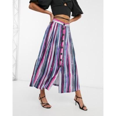 クローゼットロンドン レディース スカート ボトムス Closet London a-line midi skirt with button through in stripe