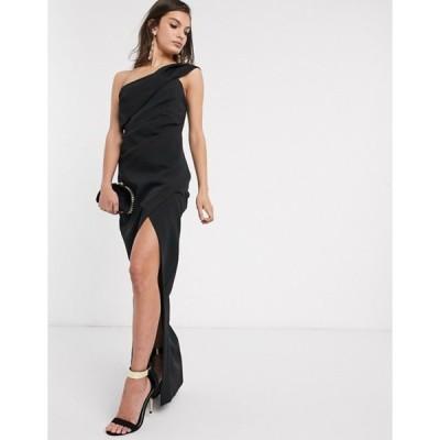 リバーアイランド レディース ワンピース トップス River Island one shoulder midi dress in black
