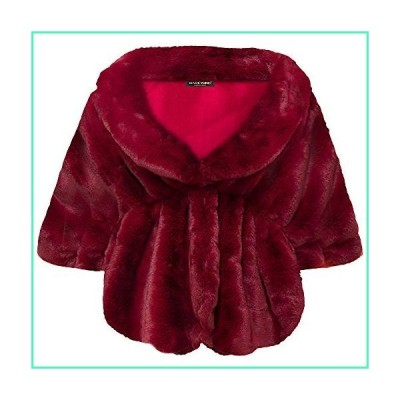 BABEYOND Womens Faux Fur Collar Shawl Faux Fur Scarf Wrap Evening Cape for Winter Coat (Wine Red, Small)並行輸入品