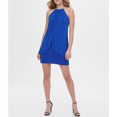 ケンジー レディース ワンピース トップス High Round Neck Hardware Detail Tulip Wrap Front Jersey Sheath Dress