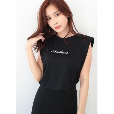【アンビエント】 AMBIENTショルダーパッドTシャツ レディース ブラック F AMBIENT