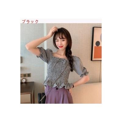 【送料無料】女 夏 スクエアネック 格子上着 デザイン 感 小 バブル半袖 シャツ | 364331_A63319-5098544