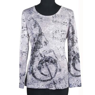Tシャツ カットソー キラキラ ラインストーン カジュアル 婦人服 ミセス インポートテイスト Clin d'elle クランデール オパール 40代 50代 60代 01 0241