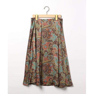 SCAPA/スキャパ サテンペーズリープリントスカート グリーン 38