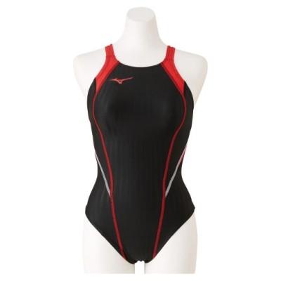 ミズノ 競泳用ミディアムカット(レースオープンバック)[ジュニア] 96ブラック×レッド 130 スイム 競泳水着 STREAM ACE N2MA0420