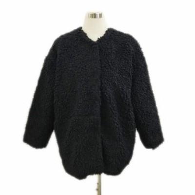 【中古】カロリナ グレイサー ジャケット コート ボア ノーカラー 比翼仕立て 黒 ブラック レディース