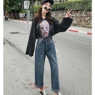 デニム 大人 衣装 アメカジ パンツ POP 韓国 40代 ストリート ダンス ゆったり 30代 きれいめ ストレート ワイド レディース K 原宿