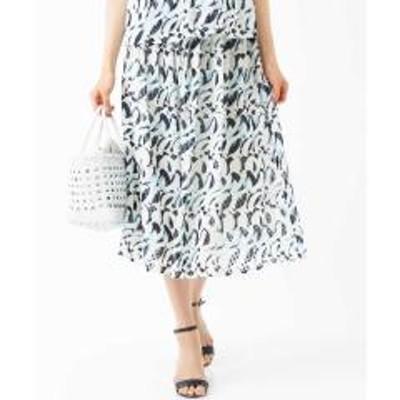 MK MICHEL KLEIN(ミッシェルクラン)【洗える/セットアップ対応】ジオメトリックプリントスカート【お取り寄せ商品】