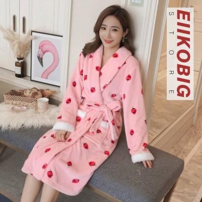 パジャマ ルームウェア レディース 秋冬 パジャマ 韓国風 ナイトガウン 部屋着 寝巻き女性 可愛い ランジェリー 防寒 前開き