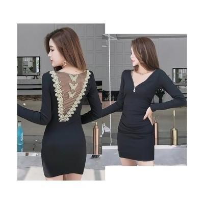背中バタフライ金糸刺繍デザイン 胸元ジップスタイルストレッチミニドレス