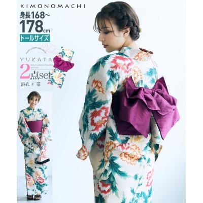 KIMONOMACHI トールサイズ 浴衣2点セット(ゆかた+作り帯) 甚平(じんべい)Yukata