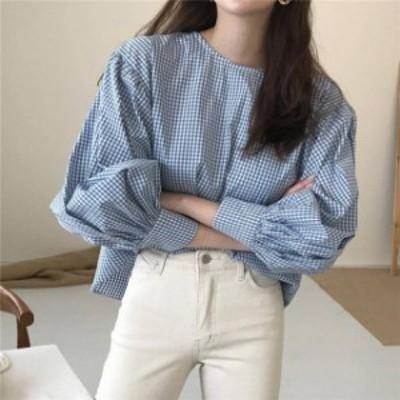 2色 ギンガムチェック柄 ブラウス ブルー グリーン 大人可愛い レディース ファッション 韓国 オルチャン