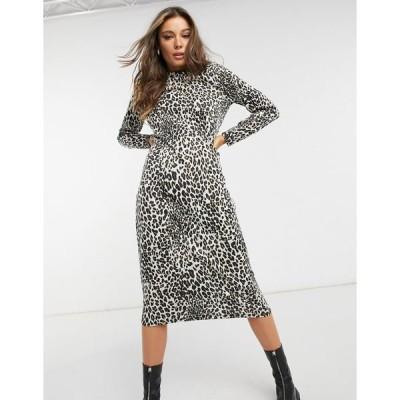 エイソス レディース ワンピース トップス ASOS DESIGN midi T-shirt dress in animal jacquard Leopard print