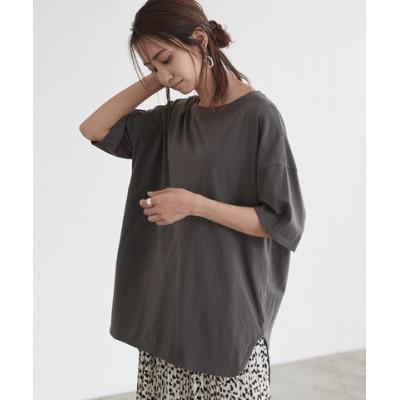 コットンカットソーロング丈Tシャツ【メール便可/60】