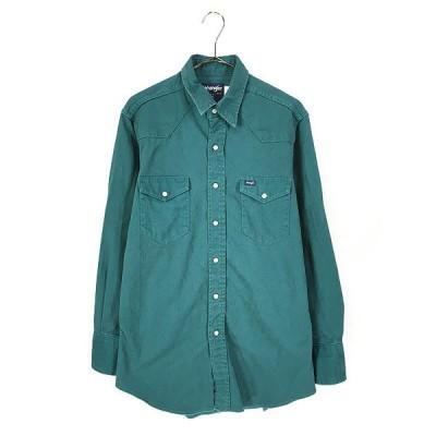 古着 80s USA製 Wrangler ソリッド コットンツイル ウエスタン シャツ 緑 16 古着