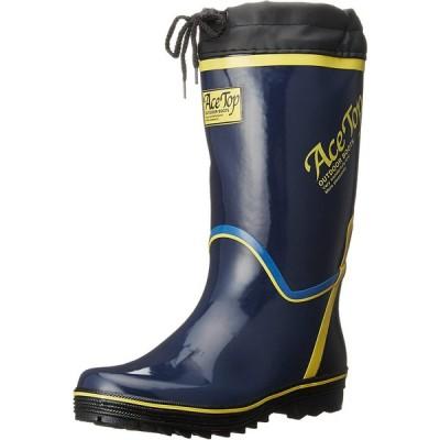 [キタ] 長靴 作業長靴 メガセーフティ カラーブーツ カバー付き長靴 KR-730 ネイビー JP 26.0(26cm)