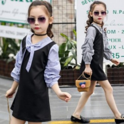 韓國子供服秋著ワンピース女の子可愛いスタイル長袖ワンピースブラックブルージュニアお嬢様風120/130/140/150/160c