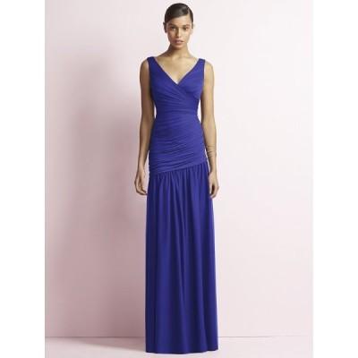 スレンダーなマーメイドシルエットのロングドレス ブライズメイド カラードレス 演奏会 パーティー 青 お呼ばれ お色直し 結婚式 :JY506 ブルー