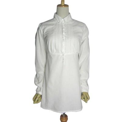 ヨーロッパ 白 ヴィンテージ チュニック シャツ 長袖 プルオーバー レディースS位 古着