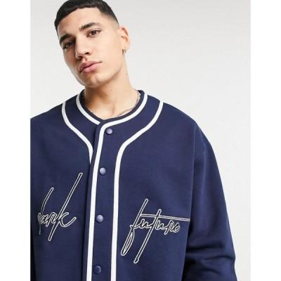 エイソス ASOS Dark Future メンズ スウェット・トレーナー Asos Dark Future Oversized Baseball Sweatshirt With Chest And Back Embroidery In Navy
