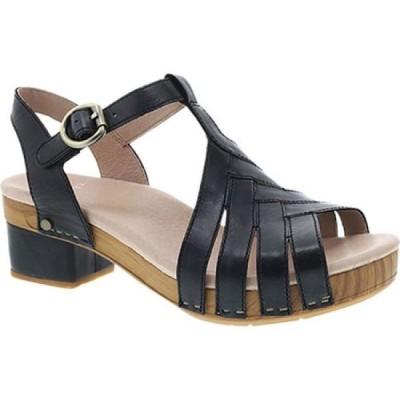 ダンスコ Dansko レディース サンダル・ミュール シューズ・靴 Mara T Strap Sandal Black Burnished Calf
