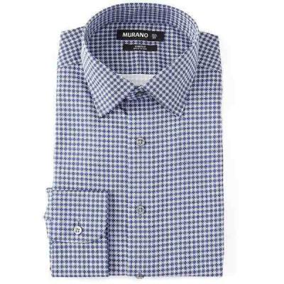 ムラノ メンズ シャツ トップス Slim Fit Spread Collar Printed Dress Shirt Grey/Navy