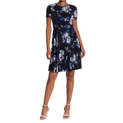 マギーロンドン レディース ワンピース トップス Watercolor Floral Short Sleeve Pleated Dress NVY/COBALT