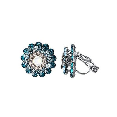 Yoursfs Blue Flower Clip on Earrings for Women Blue Crystal & Small Cubic Z